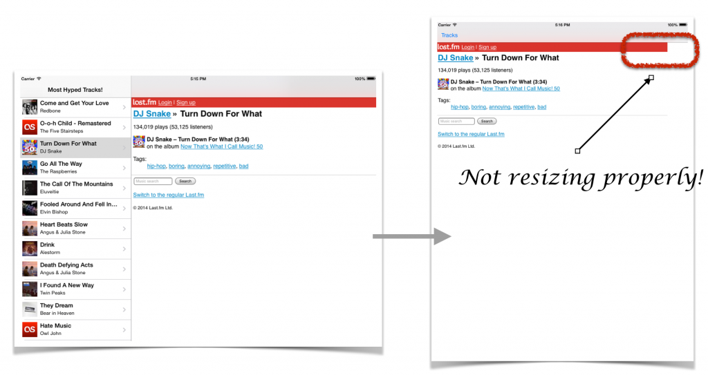 When we switch orientations, the web view is not resizing properly so the web content is not displayed correctly.